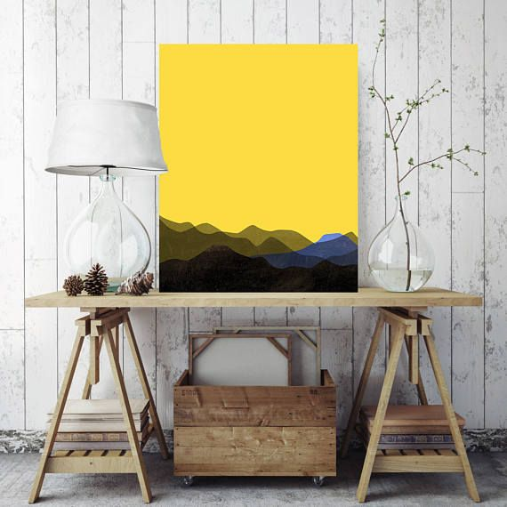 Minimalist Mountain Art Print, Ready to Hang, Yellow Mountain Peaks ...