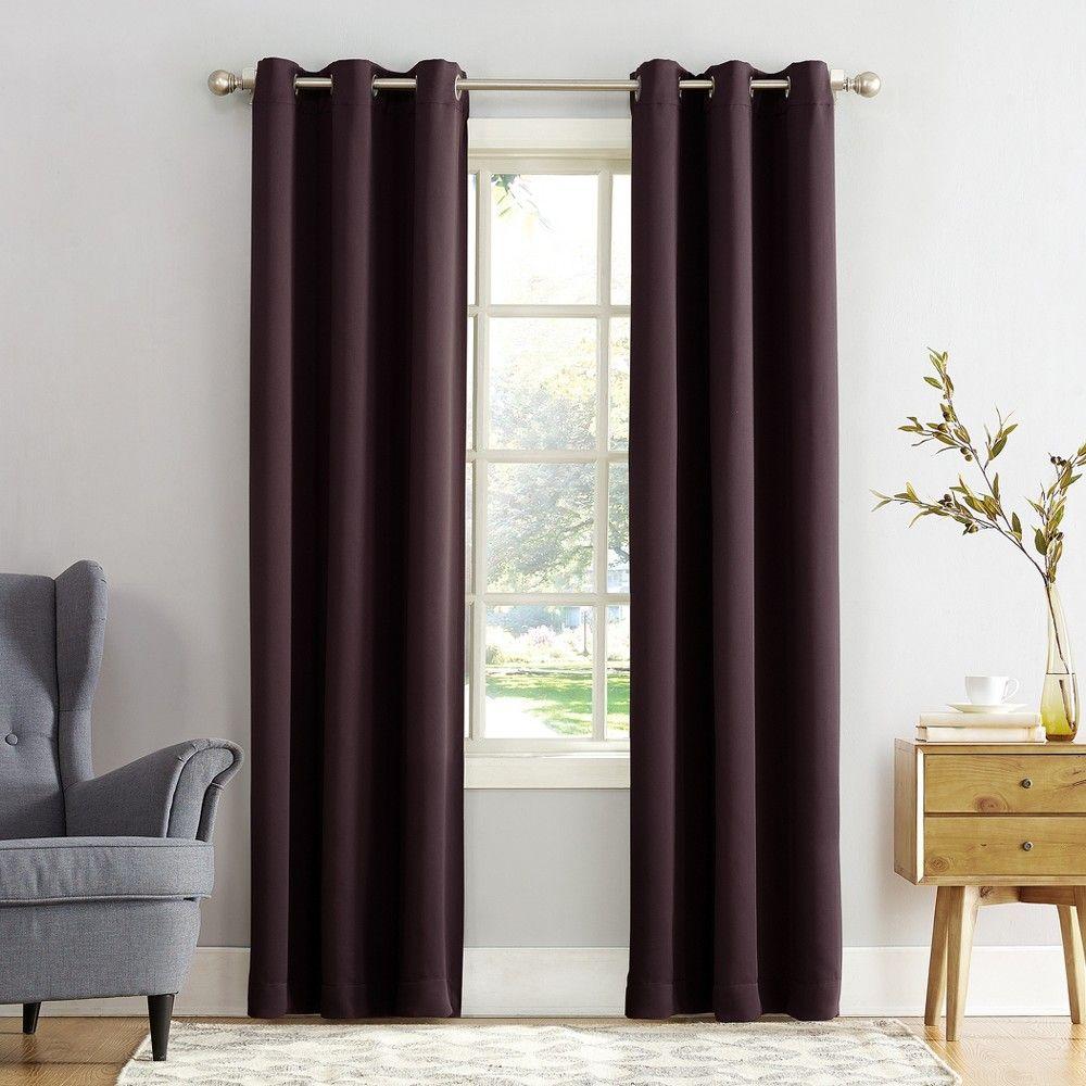 Kenneth Blackout Energy Efficient Grommet Curtain Panel Blackberry 40 X63 Sun Zero Adult Unisex Purple Room Darkening Curtains Panel Curtains Curtains