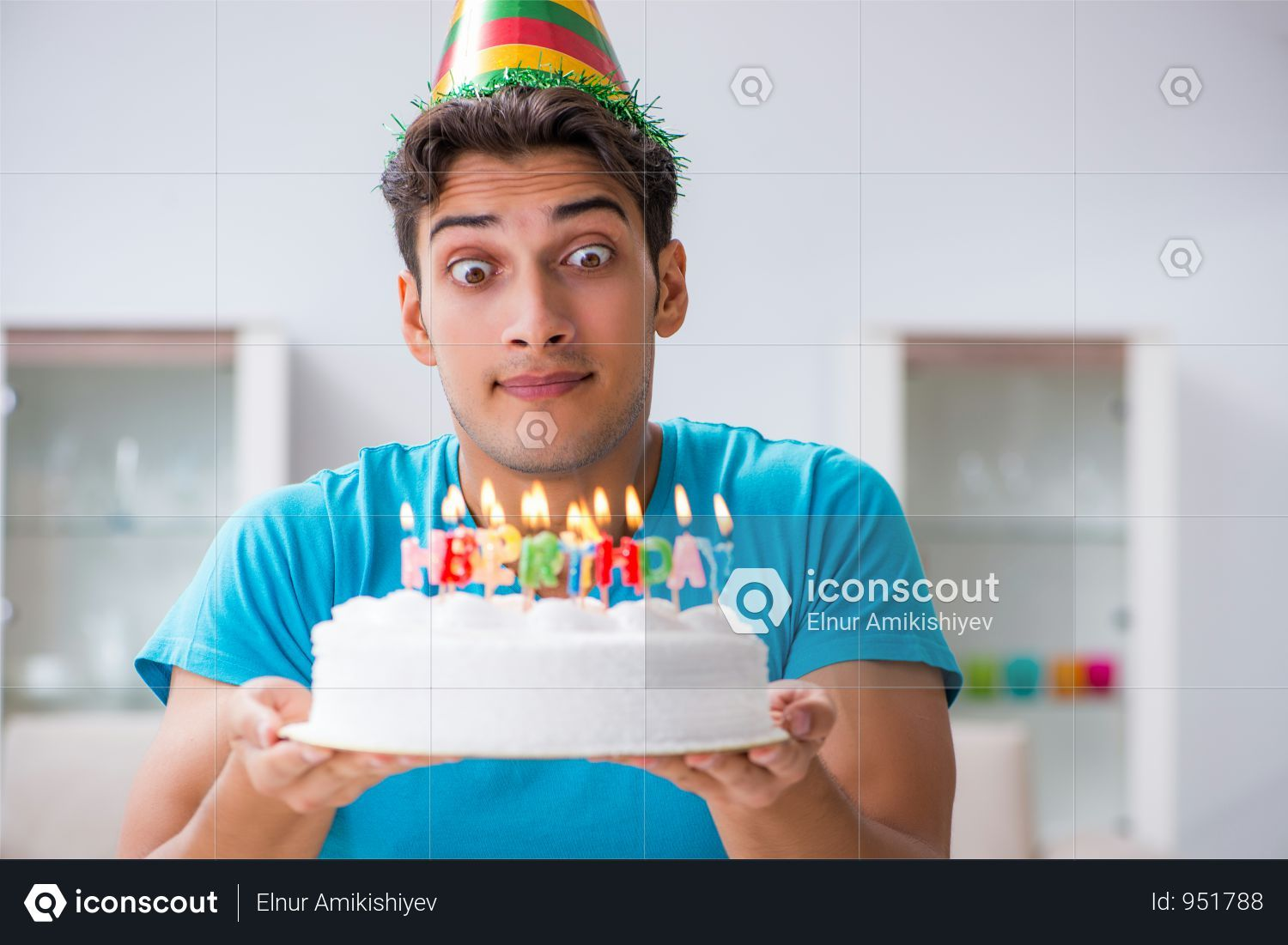 Premium Young Man Celebrating Birthday Alone At Home Photo Download In Png Jpg Format Home Photo Celebrities Birthday