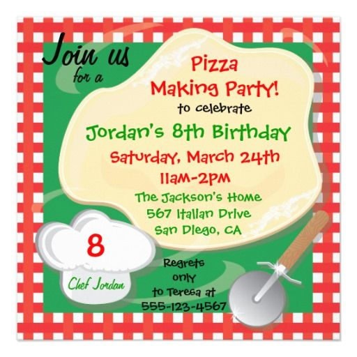pizza making birthday party invitation card pizza parties