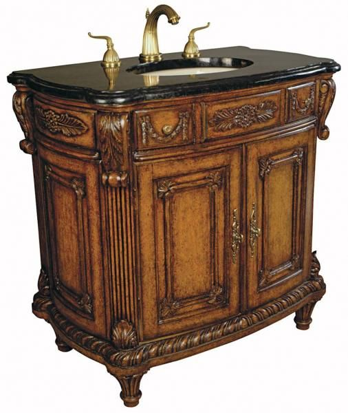 The Lady Carey Sink Chest Features A Breathtaking Display Of Carvings A Deep Mahogany Finis Bathroom Vanity Discount Bathroom Vanities Antique Bathroom Vanity