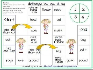 Diphthongs Oi and Oy | Dipthongs: ou, ow, oi, oy board game by ...