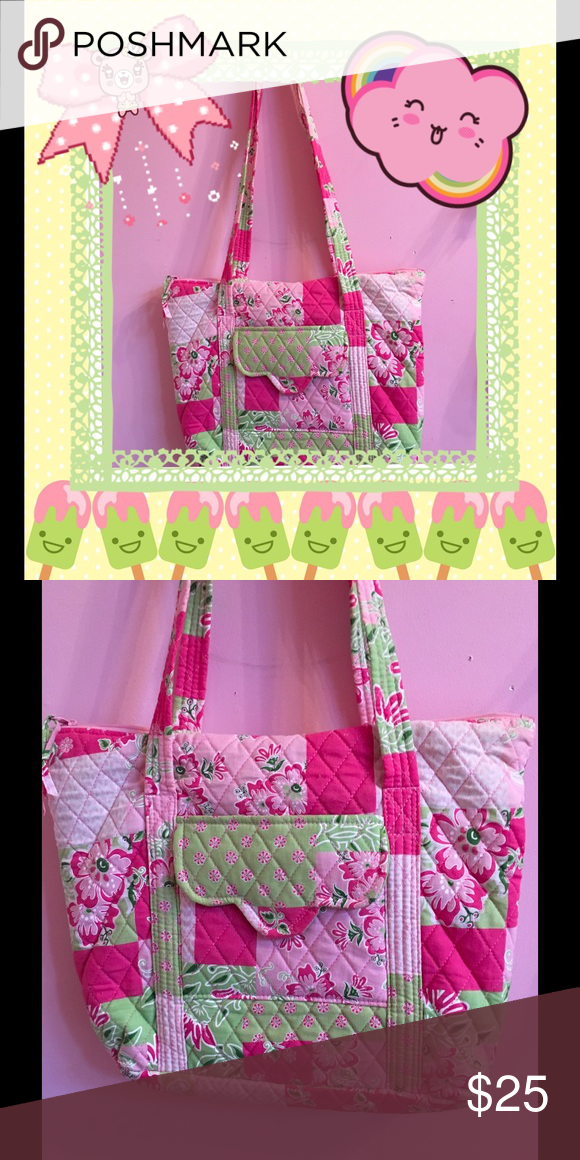 NWOT 💐Spring quilted bag💐 Charming pink & green quilted bag! NWOT perfect for springtime 🌷🌼🌸 Bags Totes