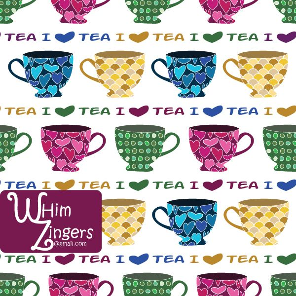 A digital repeat pattern for seamless tiling. #repeatpattern #seamlesspattern #textiledesign #surfacepatterndesign #vectorpatterns #homedecor #apparel #print #interiordesign #decor #repeat #pattern #repeat #repeating #tile #scrapbooking #wallpaper #fabric #texture #background #whimzingers #tea #cup #pink #blue #yellow #green #drink #beverage #text #typographic
