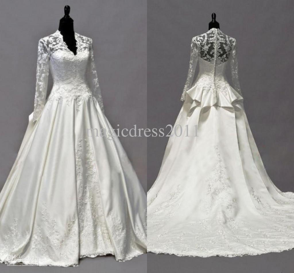 2014 Vintage Kate Middleton Long Sleeves Fall Wedding Dresses A-Line ...