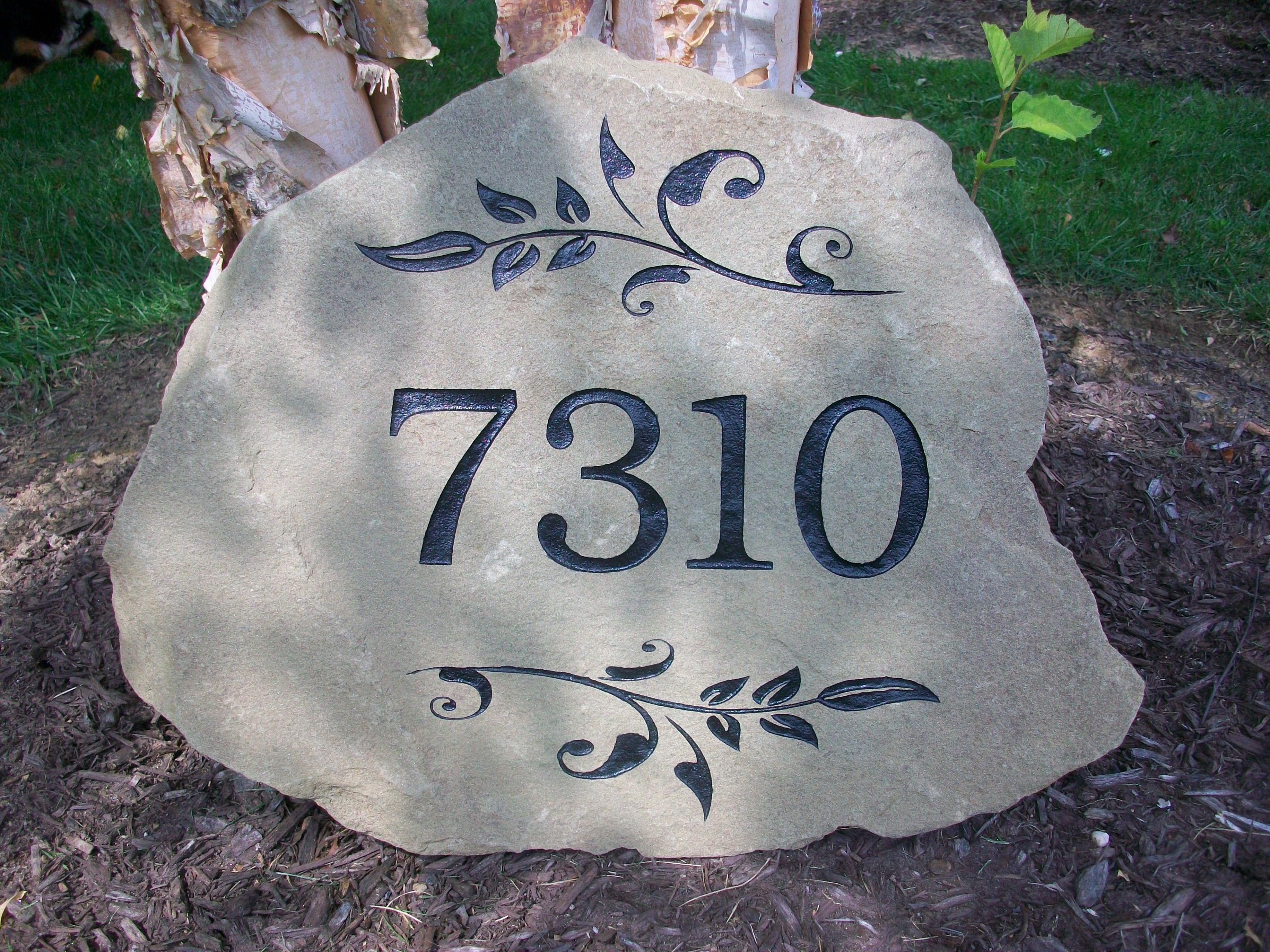 Custom Engraved Stone Address Marker Custom Engraved Stone