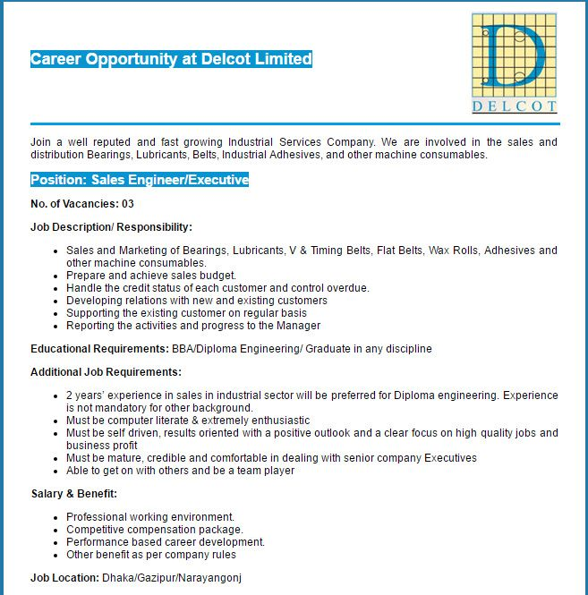 Delcot Limited Sales Engineer\/ Executive Job Circular VACANCY - sales engineer job description
