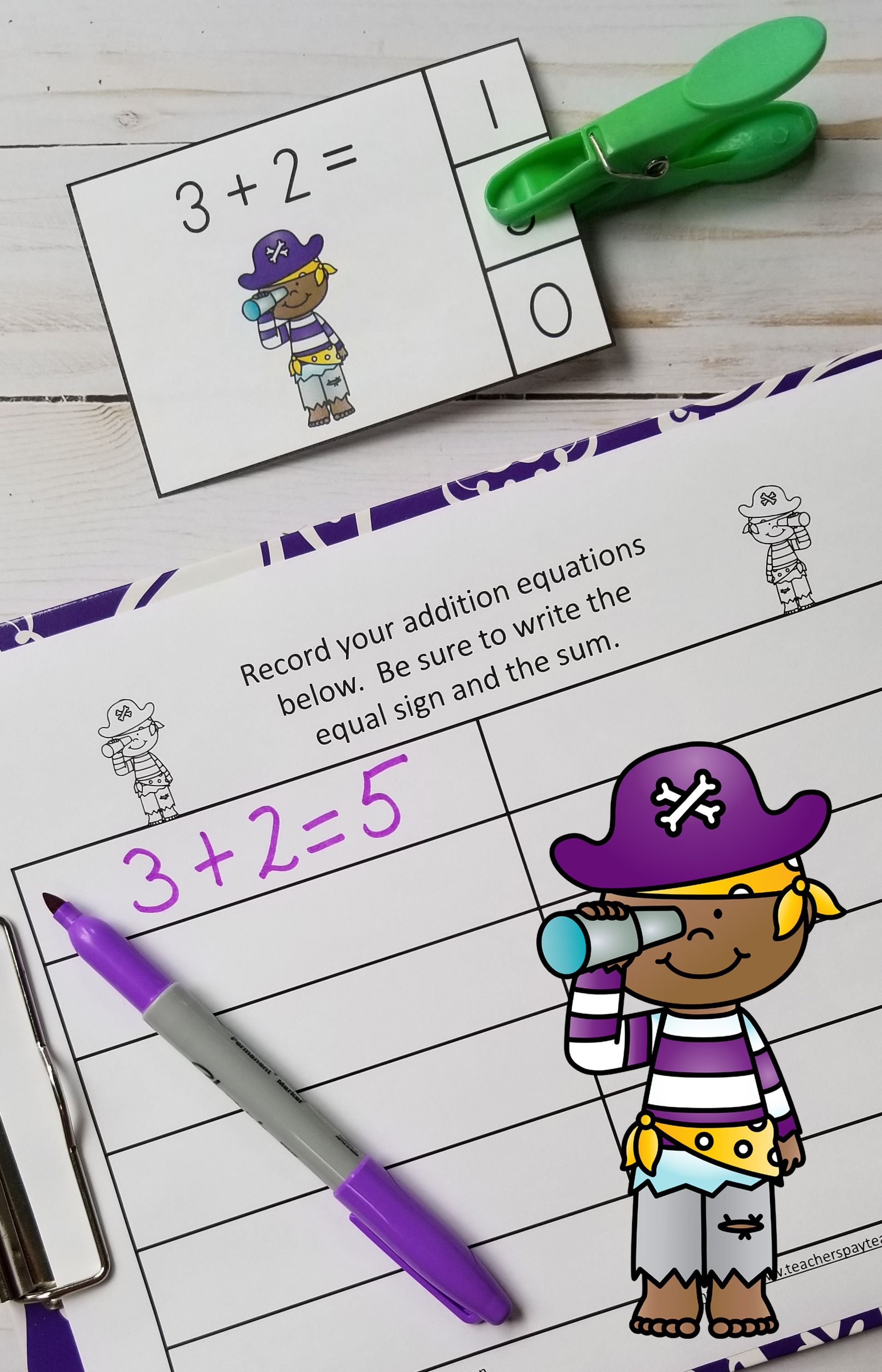 Pirates Addition Within 5 Math Centers
