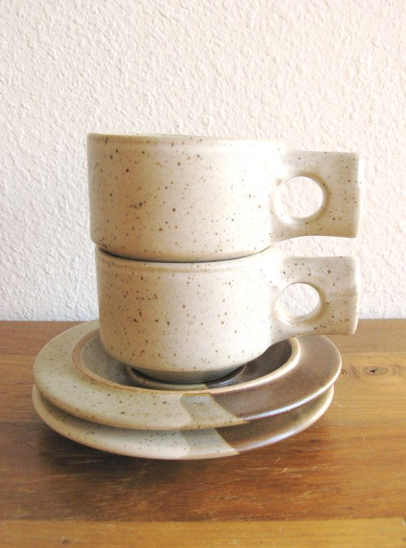 Fabrik Stoneware Cups and Saucers-Set of 2 by MarketHome, $30.00
