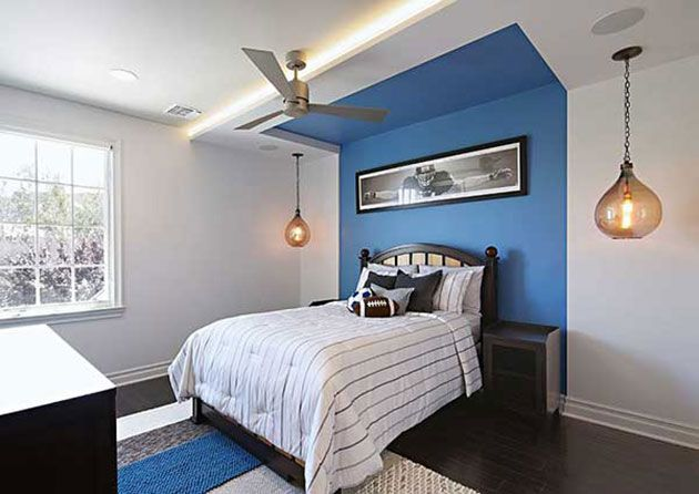 29 Fotos E Ideas Para Pintar Una Habitacion En Dos Colores Bedroom Wall Designs Blue Accent Walls Accent Wall Bedroom