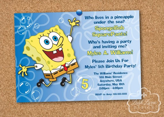 d5deb333ea5b0 SpongeBob SquarePants Birthday Party Printable Invitation