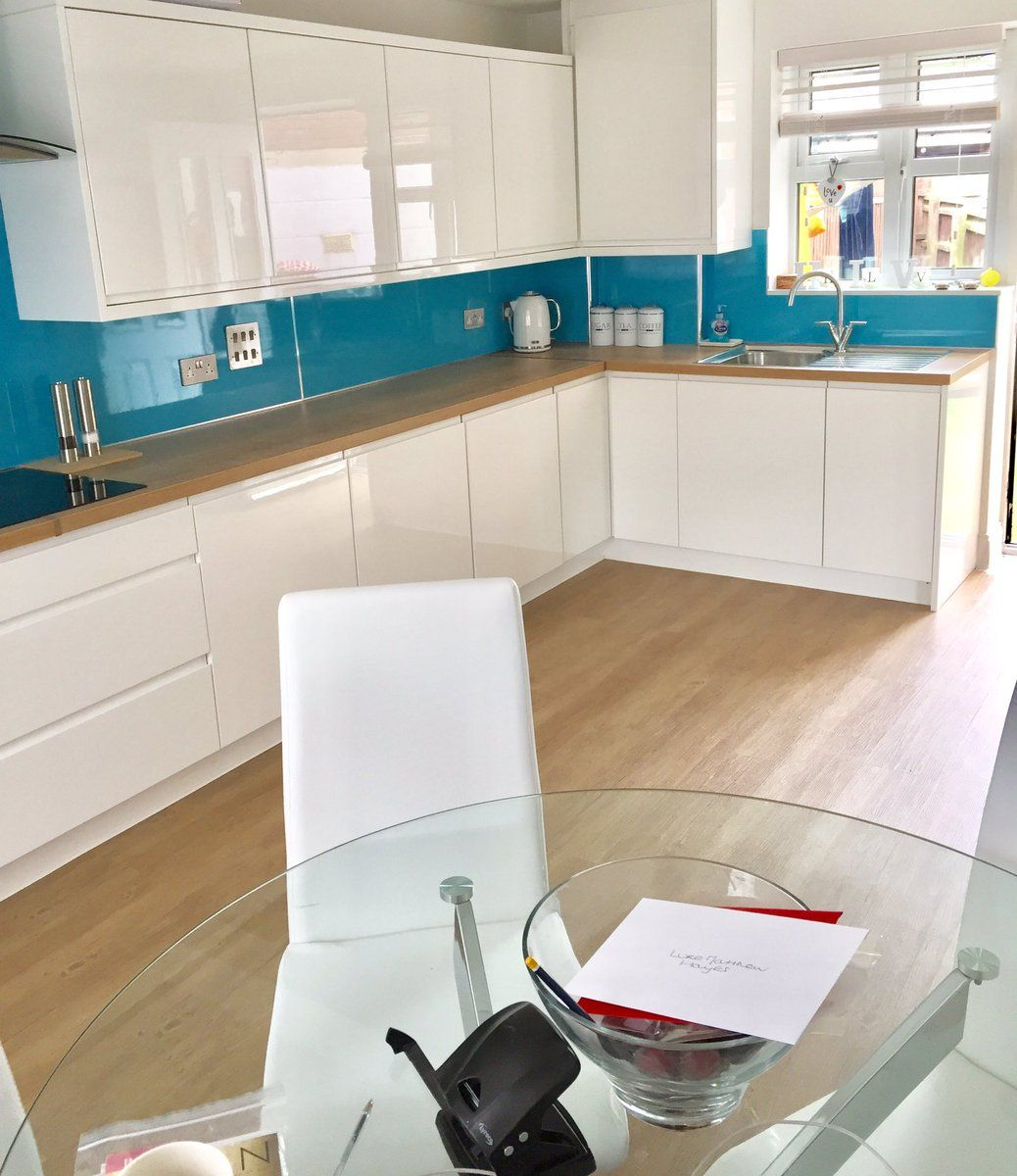 kitchen installation using selkie board 'blue turquoise