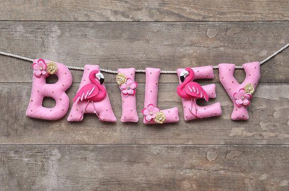 felt name banner pink flamingo nursery decor personalized letters