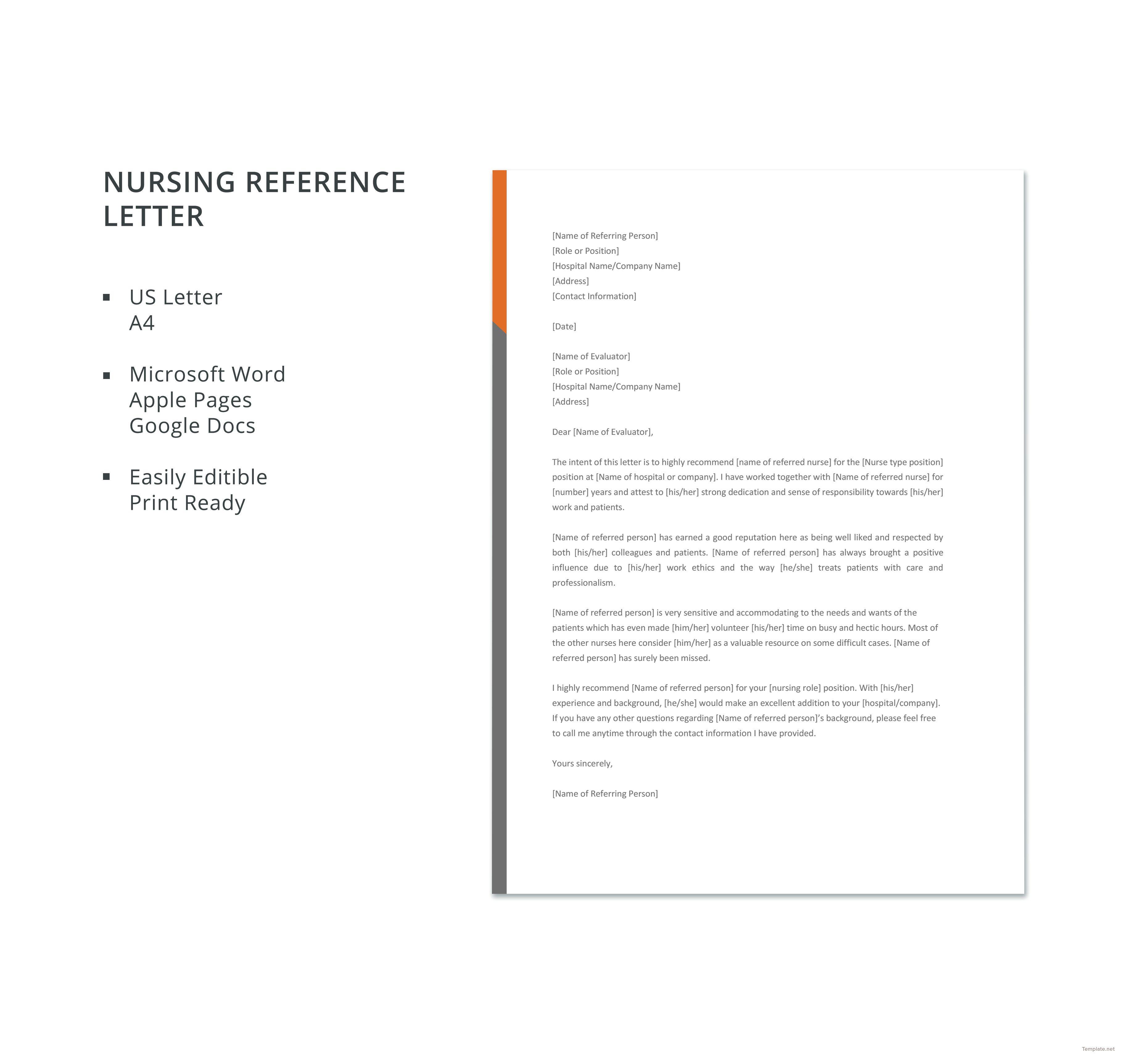 Free Nursing Reference Letter Reference letter template