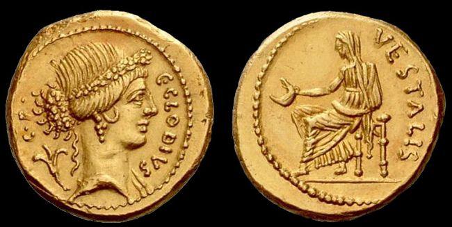 Caio Clodio Vestale, aureo, zecca di Roma, 41 a. C.