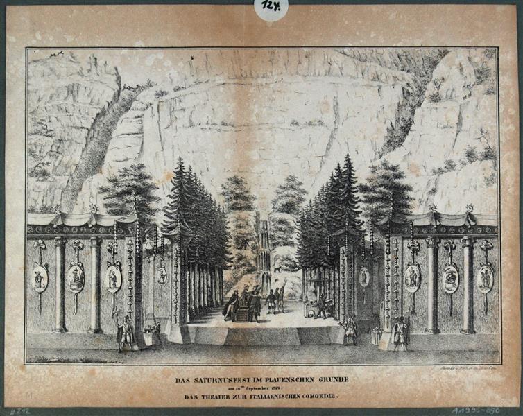 Das Theater Zur Italienischen Komodie Beim Saturnusfest Oder Berkwerksfest Am 26 September 1719 Im Plauenschen Grund Bei Dresden Anl Teatro Escenografia Maria
