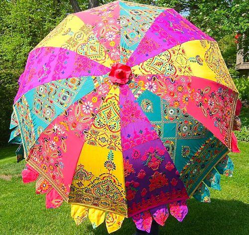 Unique Garden umbrella big size ,lawn umbrella 72 inch Shop umbrella Colourful embroidery diameter size 6 ft wedding decoration umbrella