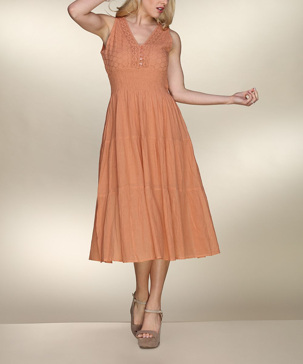 Brown Floral Lace Button-Front Sleeveless Dress