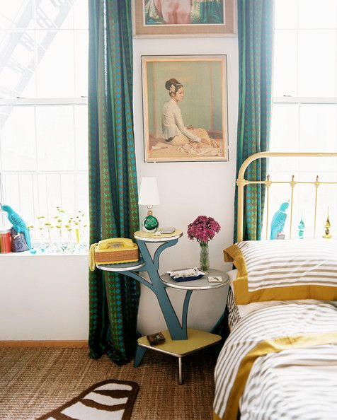 eclectic bedroom furniture. Eclectic Bedroom Photo - A Branched Side Table Beside Bed With Striped Bedding, Via Lonny Furniture