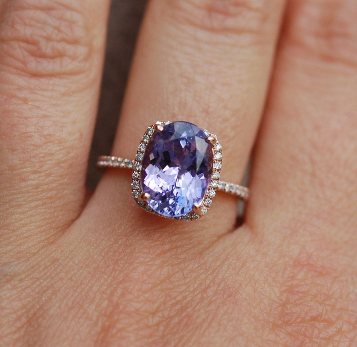 reserved part 2 tanzanite ring rose gold engagement ring 216ct lavender lilac tanzanite oval cut engagement ring 14k rose gold - Tanzanite Wedding Rings