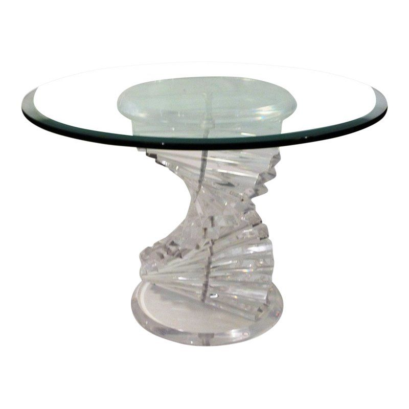 1970's Mid-Century Modern Acrylic / Lucite W Glass Top