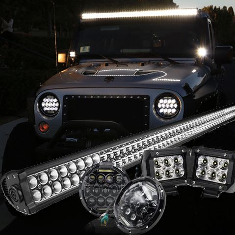 Jeep jk pack 07 2017 52 light bar led mvp headlights 2 jeep jk pack 7 07 2016 52 light bar led mvp headlights aloadofball Images