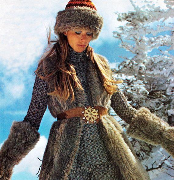 Vintage Crochet Patrón setenta esquí Cap piel por 2ndlookvintage ...