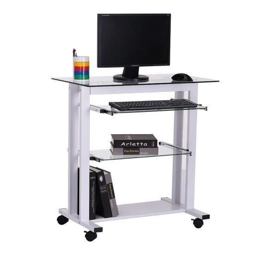 White Computer Desk Small Office Study Table Glass Pull Out Keyboard