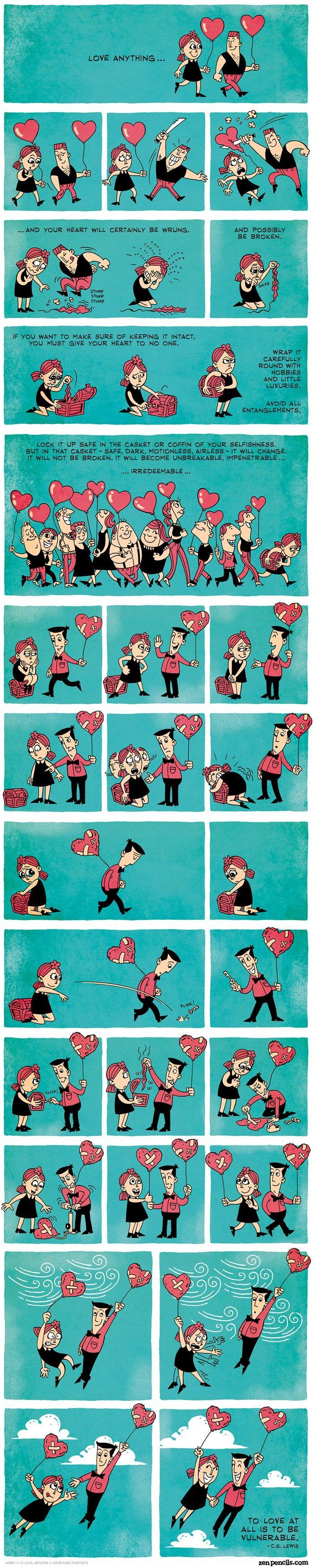 Essas tirinhas mostram de maneira bem humorada o quanto entregar-se a um relacionamento pode nos ferir quando algo não dá certo. Após a decepção, a tendência das pessoas é se fecharem para nos experiências (guardar suas dores, sentimentos e coração ferido num baú e, se possível, ainda jogar a chave fora). Entretanto, depois de um tempo, a esperança e a ilusão em uma nova relação pode voltar e, quando a pessoa menos espera, lá está ela novamente, voando vulnerável...