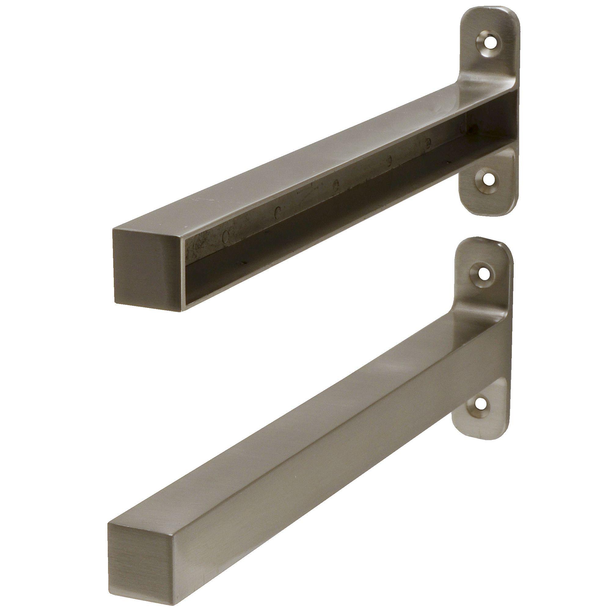 Form Brushed Aluminium Shelf Brackets D 295mm Rooms Diy At B Q Shelf End Brackets Steel Shelf Brackets Shelf Brackets