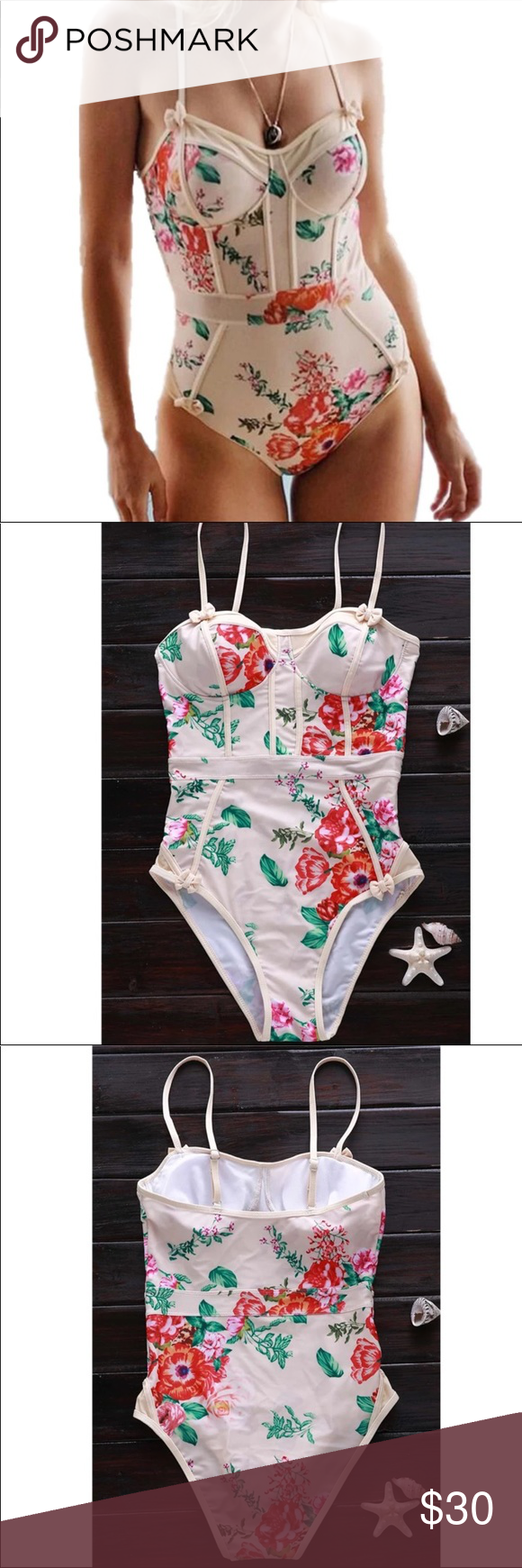 Beige floral swimsuit Beige floral swimsuit. True to the size Swim One Pieces