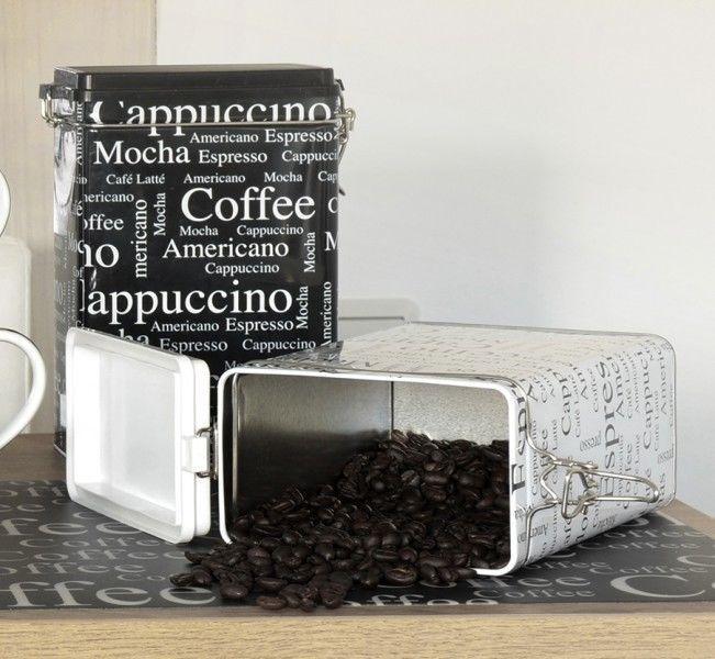 Kaffeedose Vorratsdose Aromadose 12x8x20 cm Metall eckig schwarz - küche schwarz weiß
