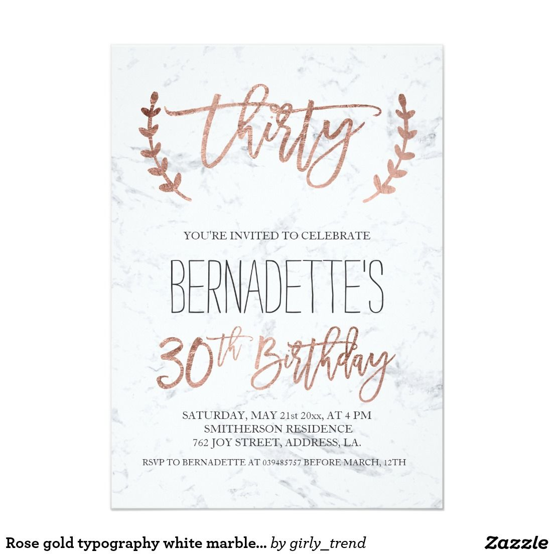Rose gold typography white marble 30th Birthday Card | 30th ...