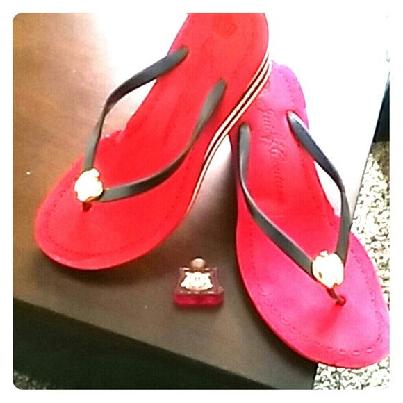Ladies Shoes Wedged sandal, red, gold apple Juicy Couture Shoes Sandals