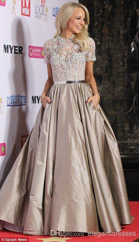 ef7fc118907 Short Sleeved A-line Taffeta Dress with Pockets Prom Dresses With Pockets