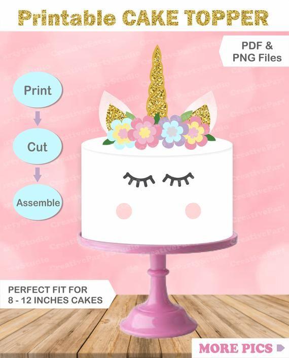 Printable Unicorn Cake Topper DIY Birthday Party Decorations Homemade
