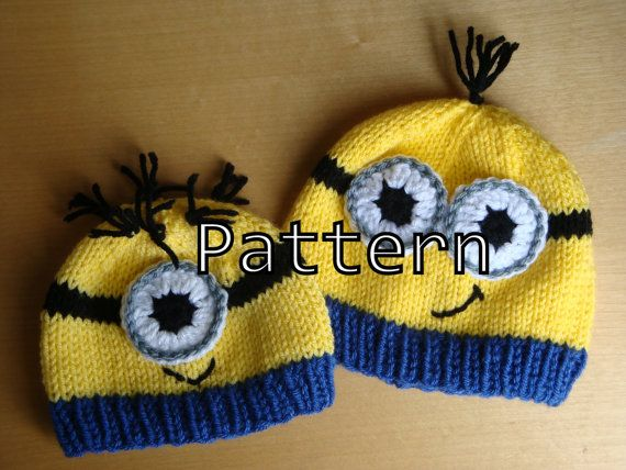 Knitting Pattern Pdf Minion Hat Pattern By Fiberflowersandbeads