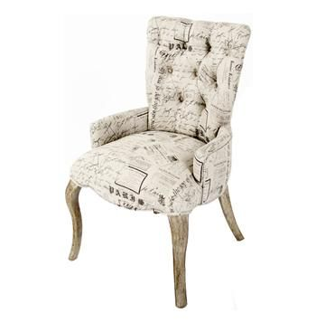 Iris Tufted Vanity Dining Chair with Literary French Script Children's room