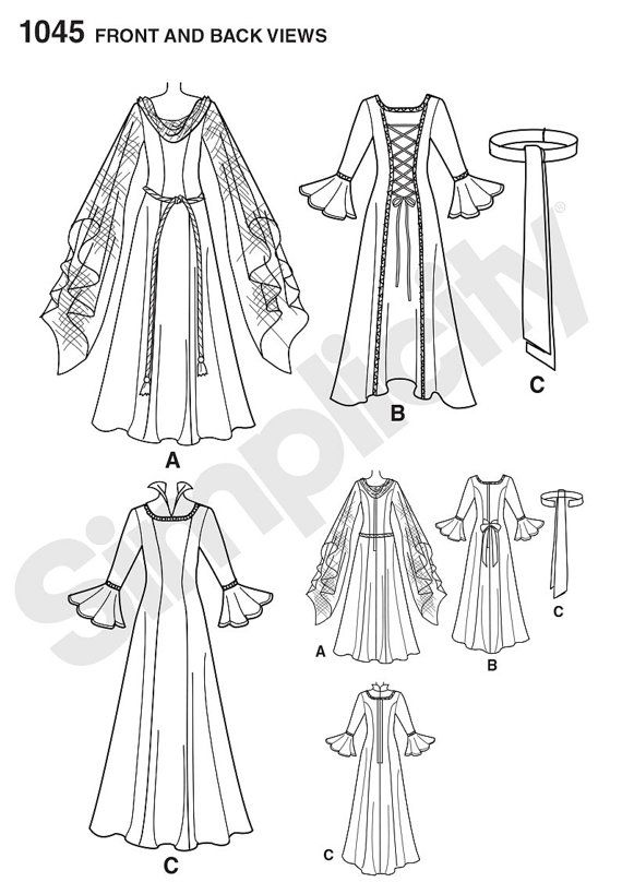 Medieval Dress Pattern - Simplicity 1045 Pattern- Misses\' Costume ...