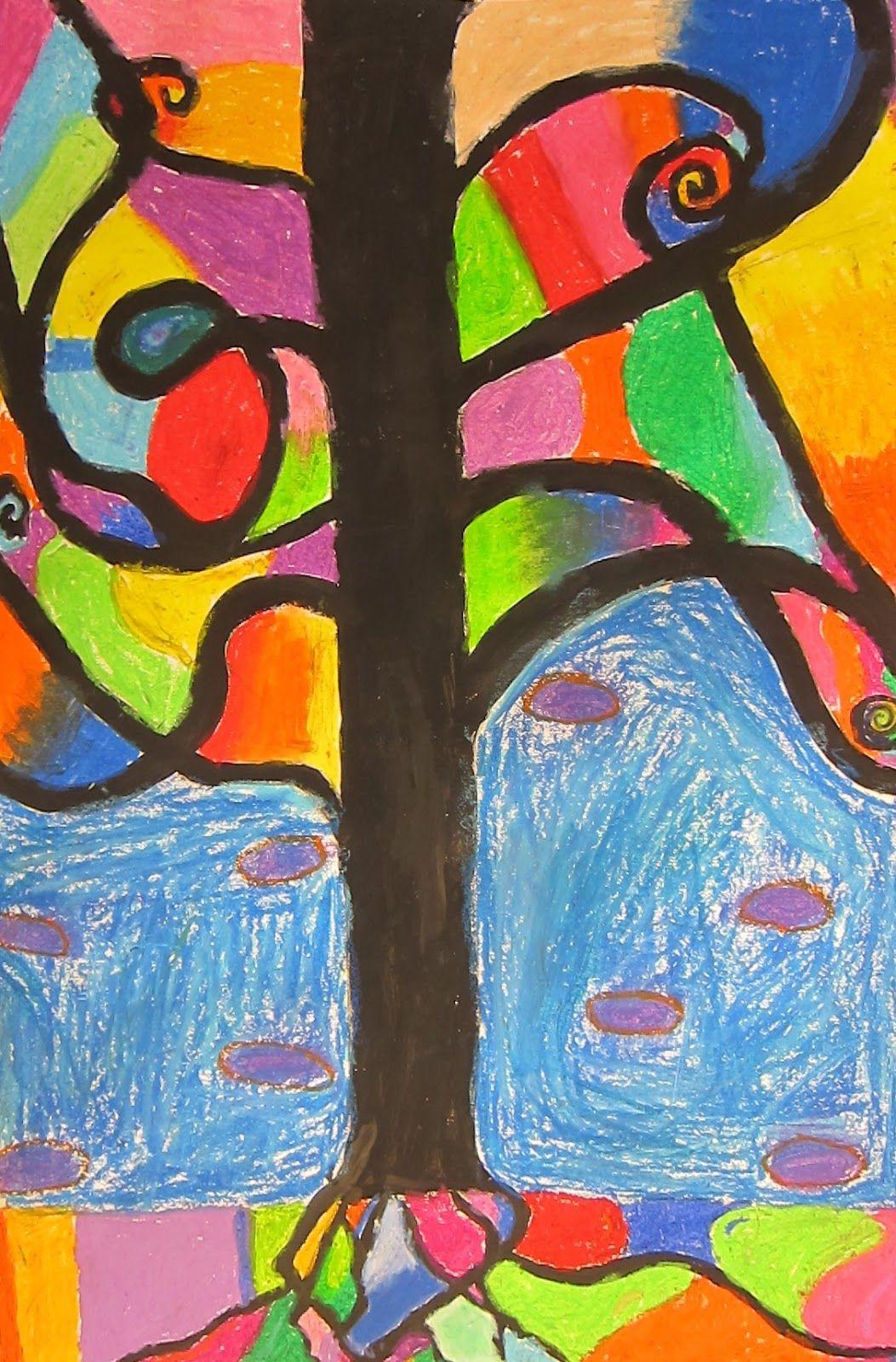 Art is Basic-- Art Teacher Blog: Abstract Oil Pastel Trees ...