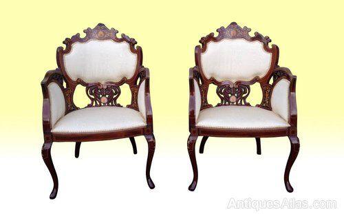 ~ Magnificant Pair of Antique Mahogany Arm Chairs ~ antiques-atlas.com