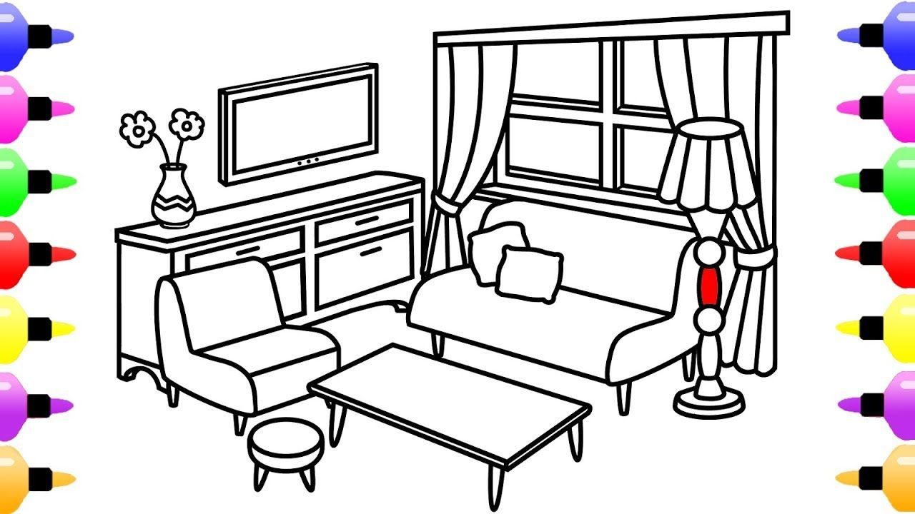 How to Draw Living Room for Kids | Coloring Pages for Kids Learn ...