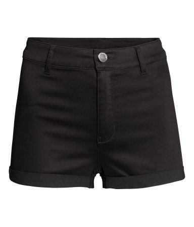 H&M Shorts High Waisted $18 : Shorts in superstretch twill with a high waist and back pockets. Sewn cuffs at hems.
