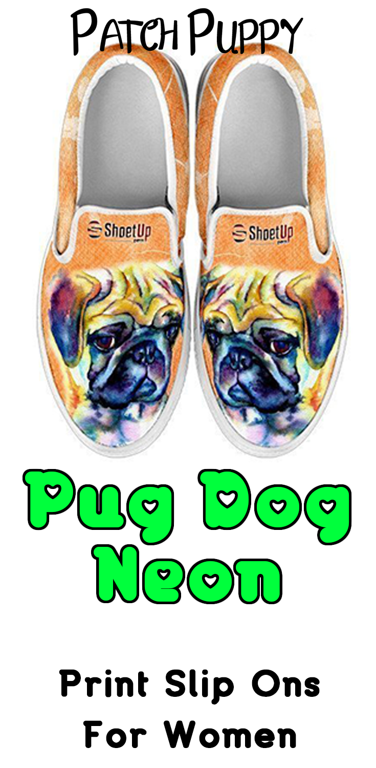 Shoetup Pug Dog Print Slip Ons for Women