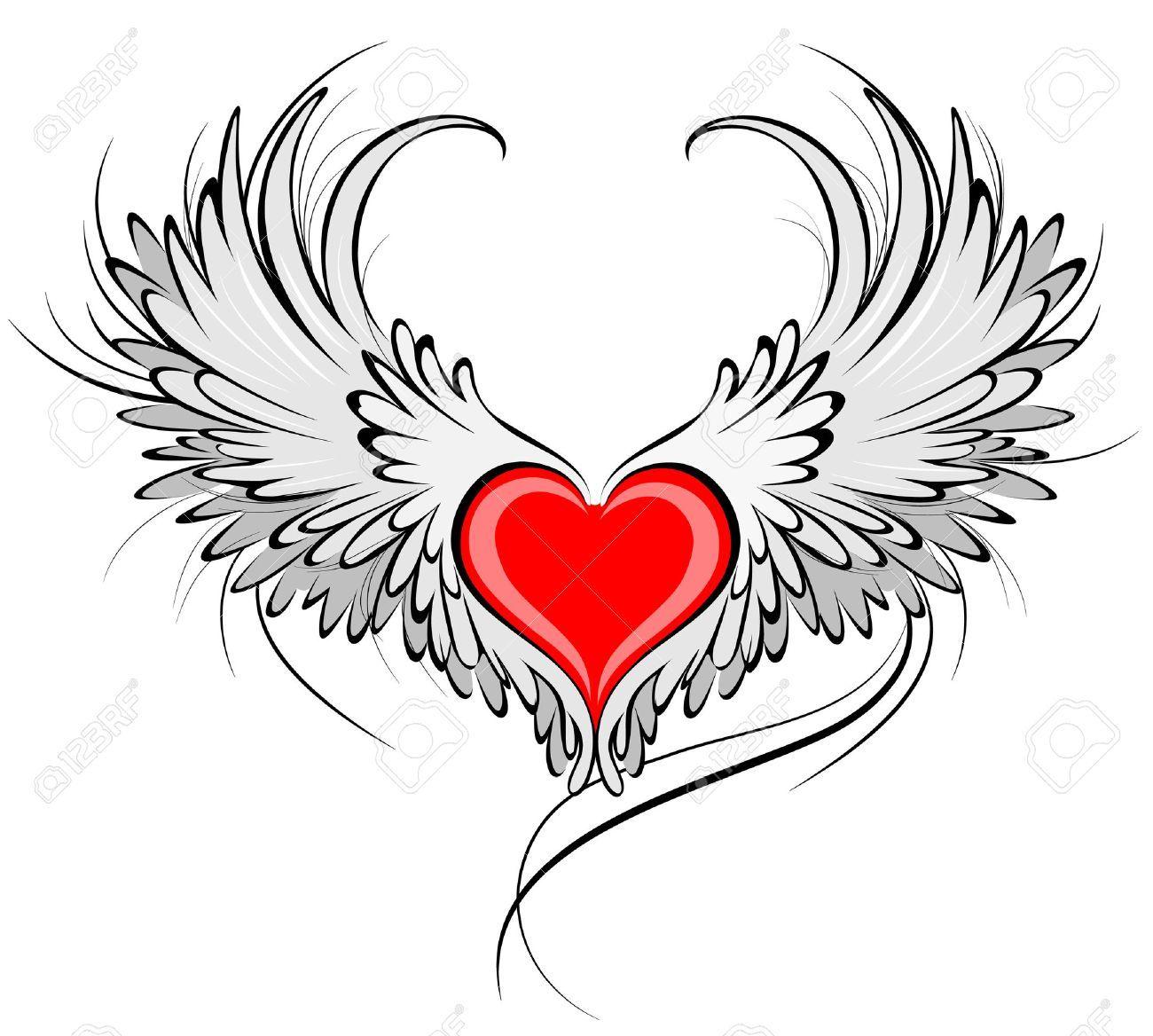 stock photo | engelsflügel tattoos, herz mit flügeln