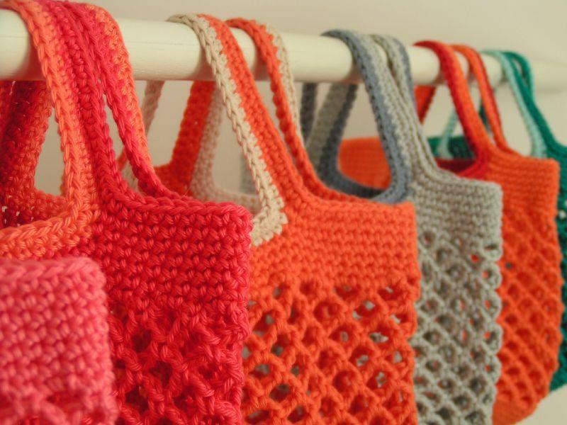 tricoter un filet a provision pinteres. Black Bedroom Furniture Sets. Home Design Ideas
