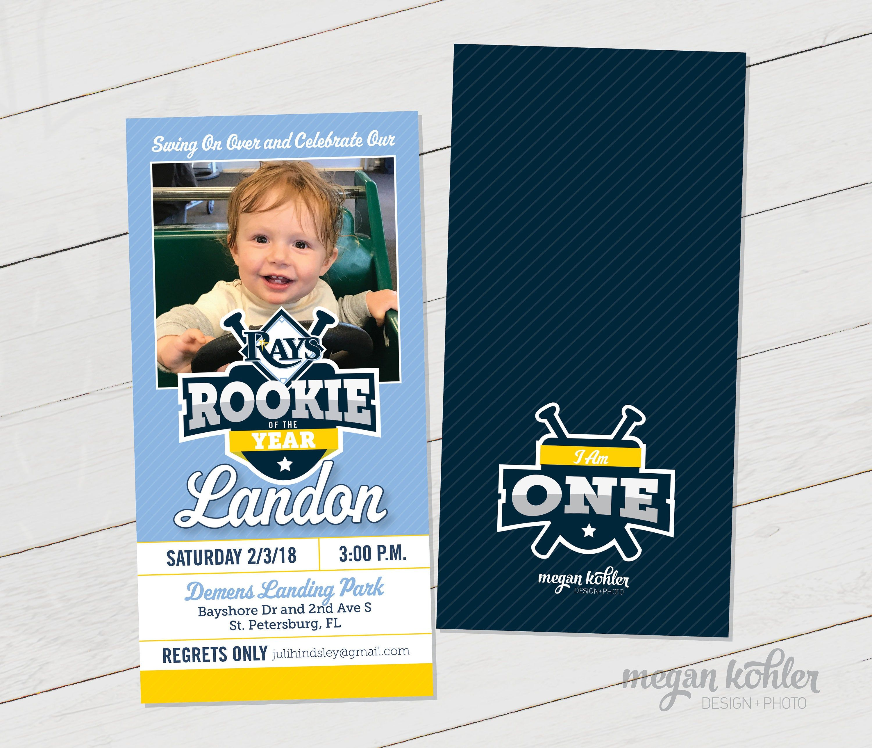 Rookie Of The Year Baseball Ticket Photo Invitation First Birthday Digital File Double Sided In 2021 Photo Invitations Baseball Ticket First Birthdays Rookie of the year poster