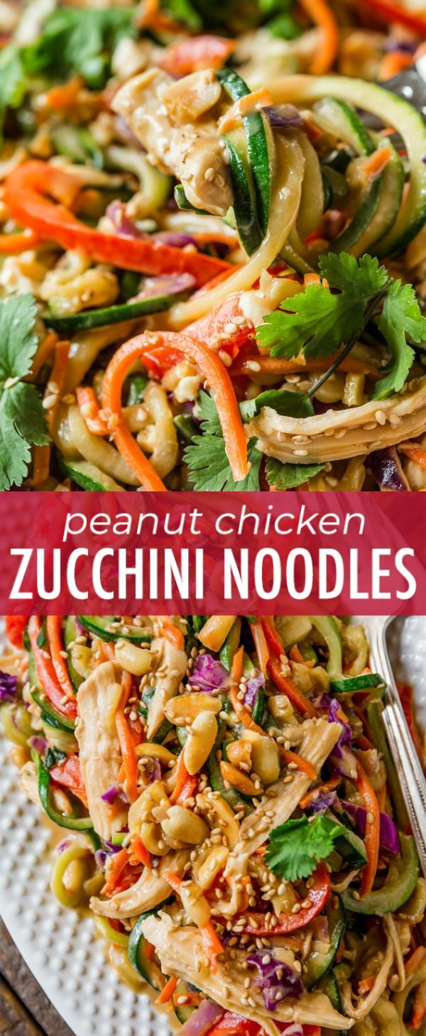 Mixing up weeknight dinners with this wildly flavorful and healthy Asian inspired peanut chicken and veggies dish!! Recipe on sallysbakingaddiction.com #zucchininoodles