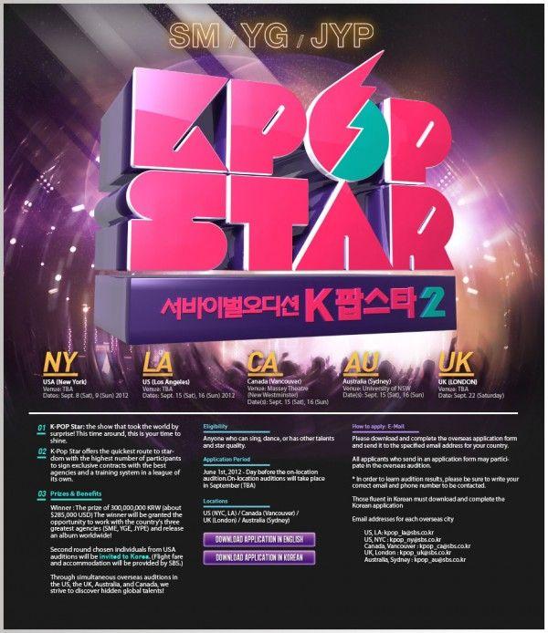 Join The Global Auditions For Sbs K Pop Star 2 K Pop Star Pop Star Kpop