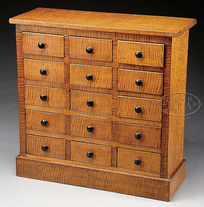 19th Century 15 Drawer Apothecary Chest With Tiger Maple Fronts 15 Drawer Square Nail Apothecary Or Spice Cabinet With Apothecary Tiger Maple 19th Century